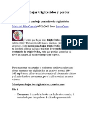 dieta bajar trigliceridos pdf