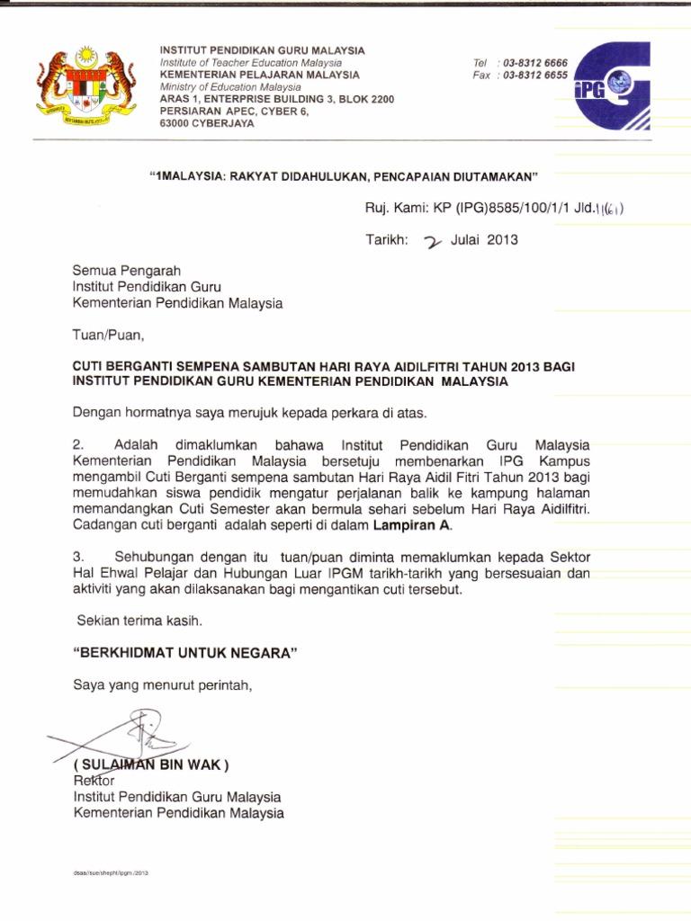 Surat Cuti Berganti Sempena Sambutan Hari Raya Aidilfitri Tahun 2013 Bagi Ipg Kpm 2