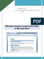 Diferentes Maneras de Seleccionar Textos en Microsoft Word