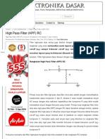 High Pass Filter (HPF) RC _ Elektronika Dasar