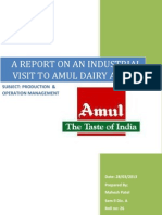 A Report on an Industrial Visit to Amul Dairy Anand New