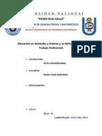 Educación en actitudes y valores y su aplicación en el trabajo profesional