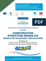 Constructor structuri monolitice. Manual de calificare / recalificare