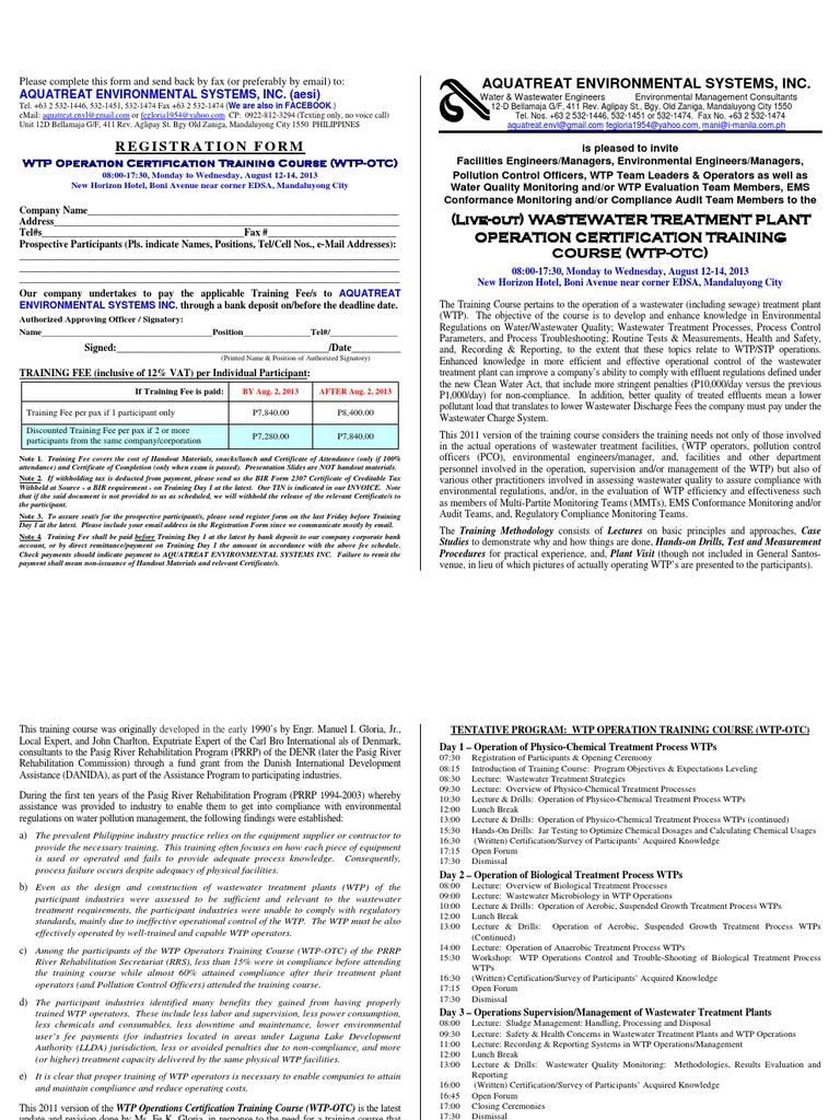 Brochure Invitation 12 14 Aug 2013 Wtp Otc Wastewater Sewage