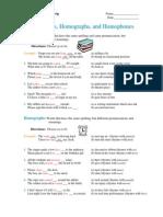 Englishforeveryone.org PDFs Homonyms, Homographs, Homophones