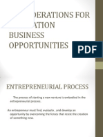Cosiderations for Evalutation Business Oppurtunities[1]