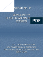 Unidad No. 2-3 Clasificacion de Los Costos