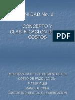 Unidad No. 2-4-A Clasificacion de Los Costos
