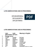 Abbreviations Used in Prescrptions