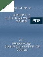 Unidad No. 2-2 Clasificacion de Los Costos