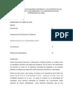 IMPORTANCIA DE LA EDUCACIÓN A DISTANCIA Y LOS APORTES DE LAS TECNOLOGIAS DE LA INFORMACIÓN Y LA COMUNICACIÓN EN EL APRENDIZAJE EN LÍNEA