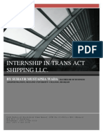 Internship in Trans Act Shipping Llc