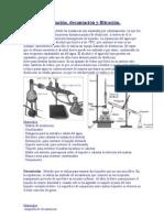 Destilación, decantacion y filtracion
