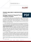 Mortgage Assignment Required Prior to Filing Foreclosure Complaint