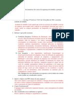 Questões para avaliação de instrutores dos cursos de segurança do trabalho e proteção ao meio ambiente