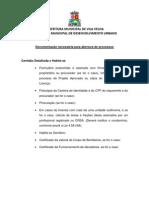 Documentação - Certidão Detalhada e Habite-se
