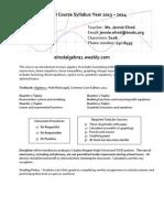 algebra i syllabus 2013