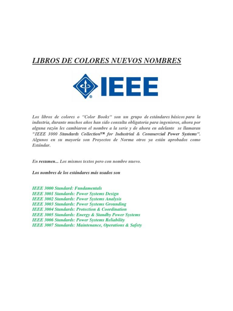 nombres nuevos a libros ieee de colores1 reliability engineering electric power system - Ieee Color Books