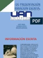 Formas de Presentacion de Informacion Escrita