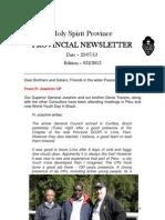 Provincial Newsletter - Ed 032 - 23 07 13