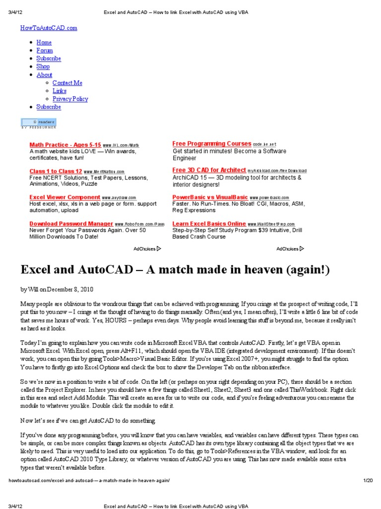 excel and autocad how to link excel with autocad using vba