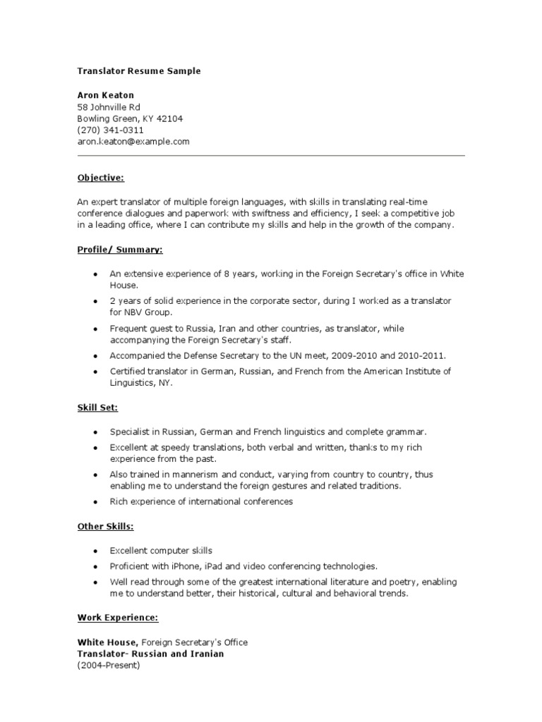 Resume examples russian translater custom article ghostwriters for hire us
