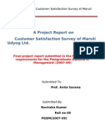 Customer Satisfaction Survey of Maruti Udyog Ltd.