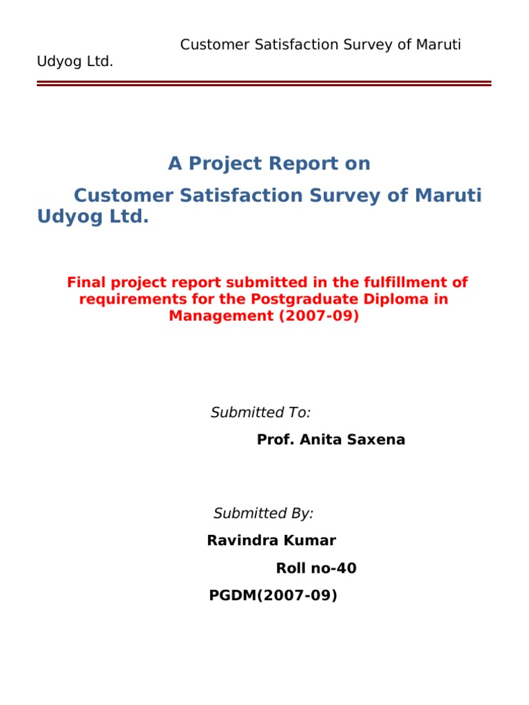 Literature review of customer satisfaction in maruti suzuki