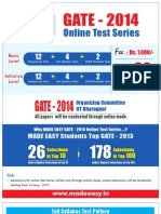GATE 2014 Online Test Series Schedule / Time Table - MADE EASY