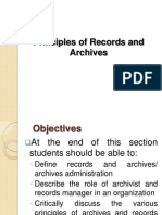 Principles of Records and Archives