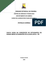 PETRÚLIO - CHUVA ÁCIDA NA CONCEPÇÃO DE ESTUDANTES DO ENSINO MÉDIO DO MUNICÍPIO DE ALAGOA NOVA - PB