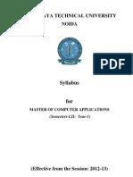 MCA First Year Syllabus 2012-13