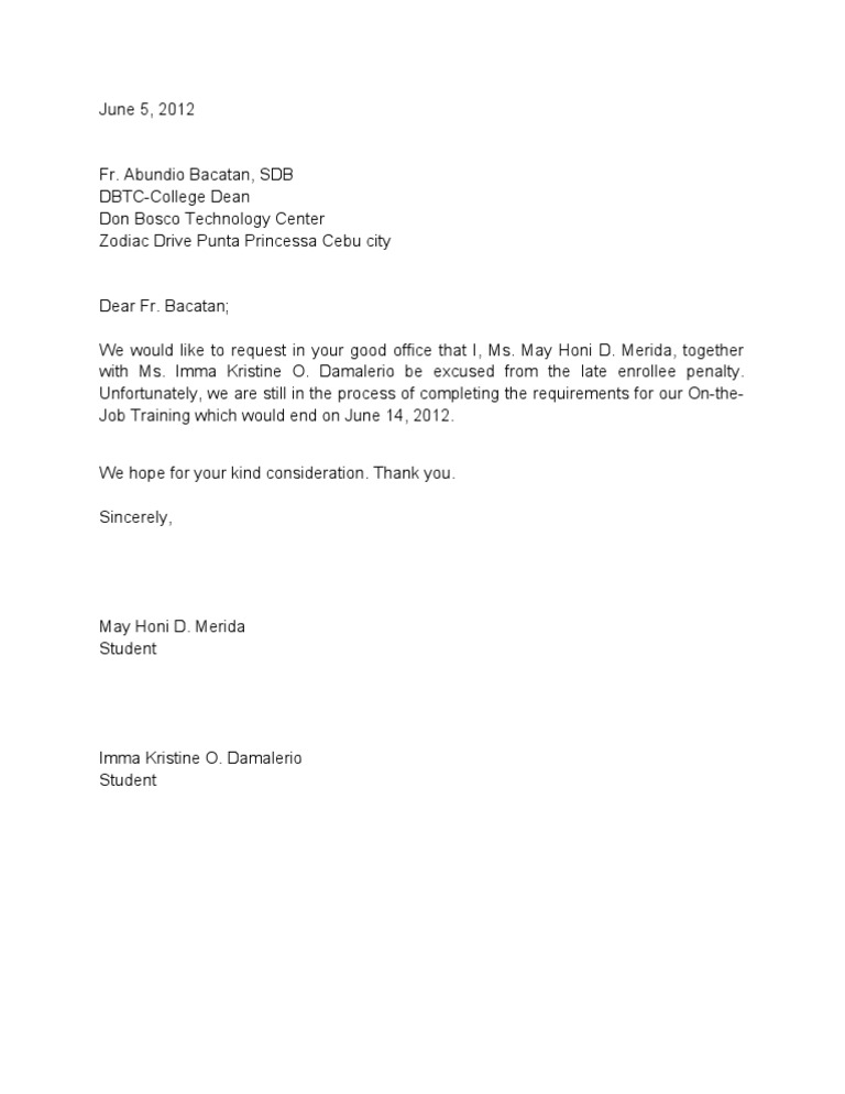 excuse letter sample for college student ojt excuse letter honi 15732