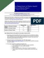DPH Week Massachusetts Department of Public Health Arbovirus Weekly Report of 7-22-2013