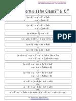 Algebraic Formulas for Class 9th & 10th