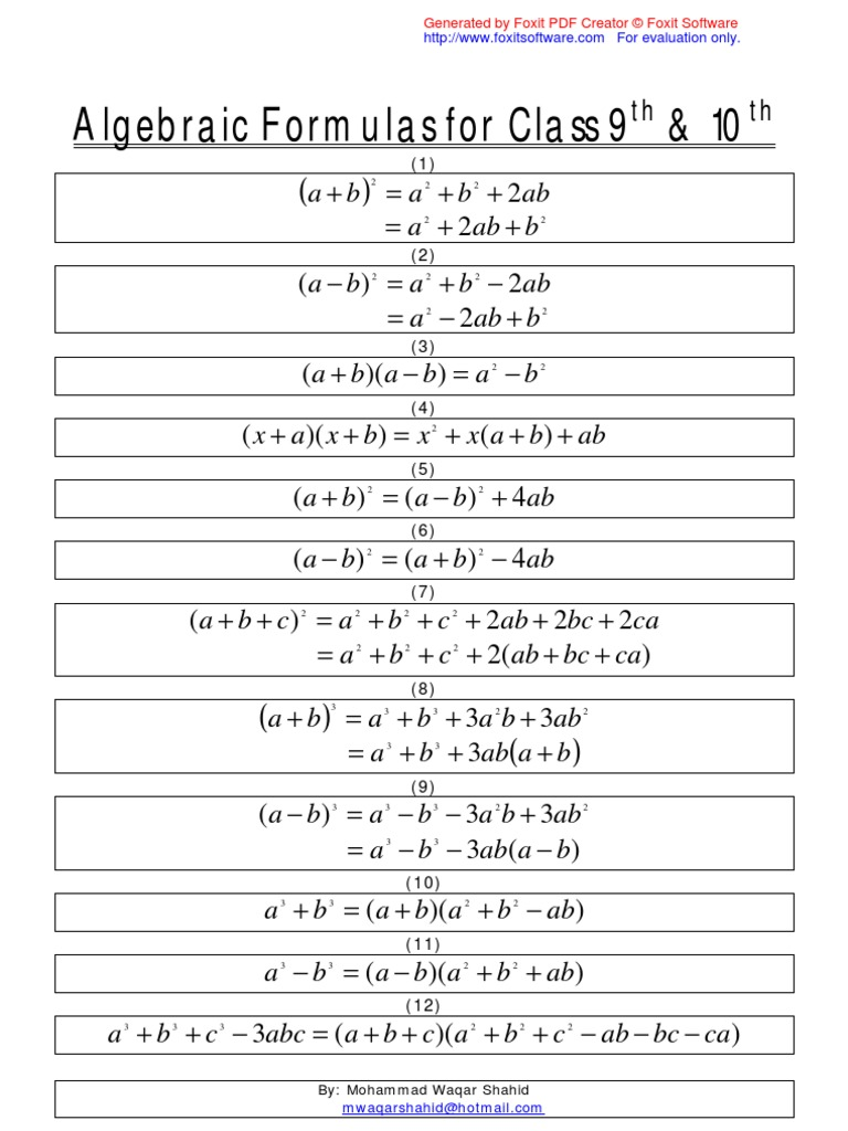 ✨ 10th class maths formulas list download | Maths Formulas PDF