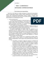 Tema 4 - La Democracia II. Diseño institucional y sistemas electorales