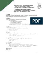 Calendario de Lecturas 2014-1 Corrientes Generales