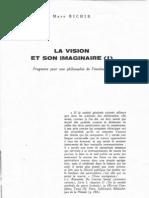 75-14 La Vision Et Son Imaginaire (I) (in Textures 75, 10.11, Bruxelles, 1975, Pp. 87-144)