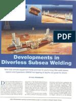 Developments in Diverless Subsea Welding