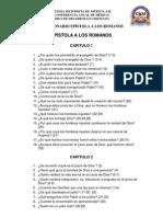 CUESTIONARIO EPÍSTOLA A LOS ROMANOS