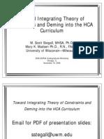 Toward Integrating TOC and Deming