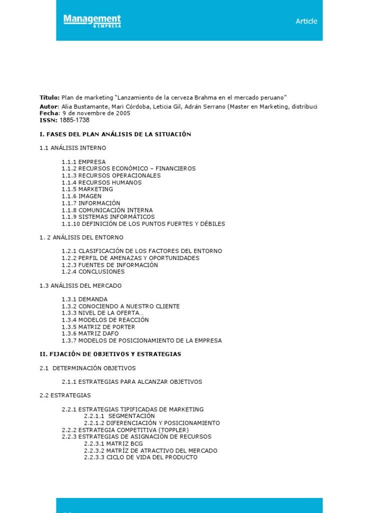 """Plan de marketing """"Lanzamiento de la cerveza Brahma en el mercado peruano 229de4c7b05"""