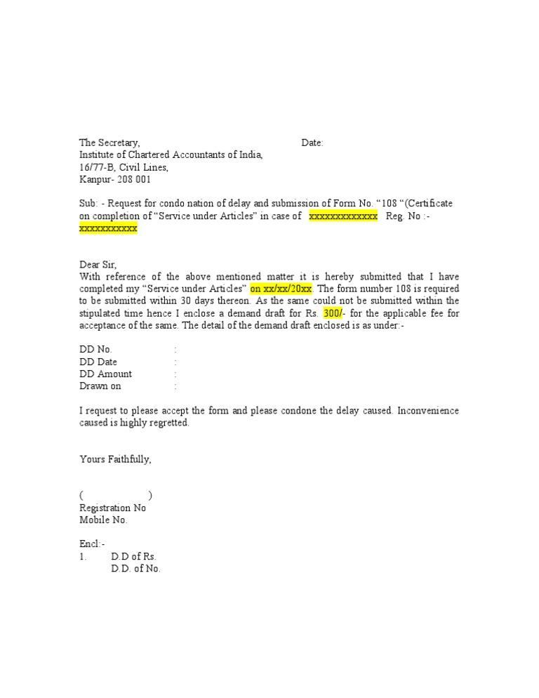 delay letter samples