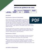 EXPERIMENTOS DE QUÍMICA EN CASA
