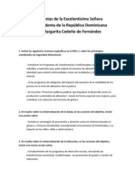 Propuestas de la Excelentísima Señora Vicepresidenta de la República Dominicana, Dra. Margarita Cedeño de Fernández