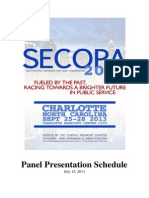 SECoPA 2013 Panel Schedule (as of 7/15/13)