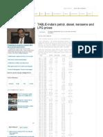 TABLE-India's Petrol, Diesel, Kerosene and LPG Prices _ Reuters