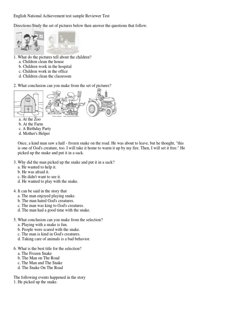 national achievement test questions and answers