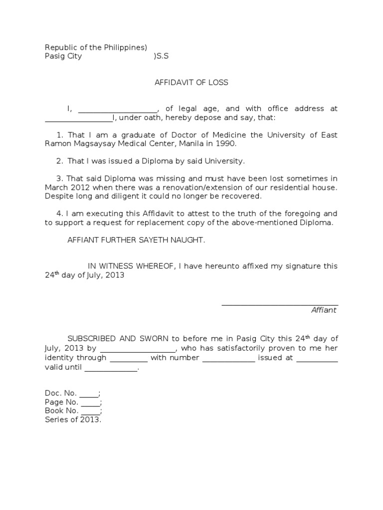 Sample Affidavit of Loss of a Diploma – Affidavit of Loss Template